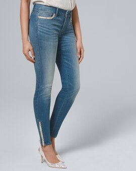 e683eaed797 Classic-Rise Snake Embossed-Trim Skinny Ankle Jeans
