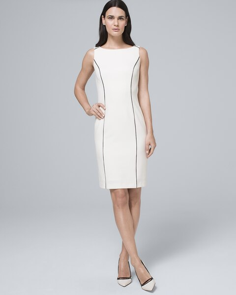 Piping Detail White Sheath Dress by Whbm