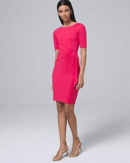 2e662147c5d6 Side-Tie Polished Knit Shift Dress - White House Black Market