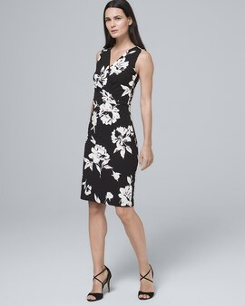 9afac96d77 Floral Polished Knit Faux Wrap Dress