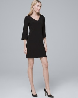 Vented Sleeve Black Shift Dress by Whbm
