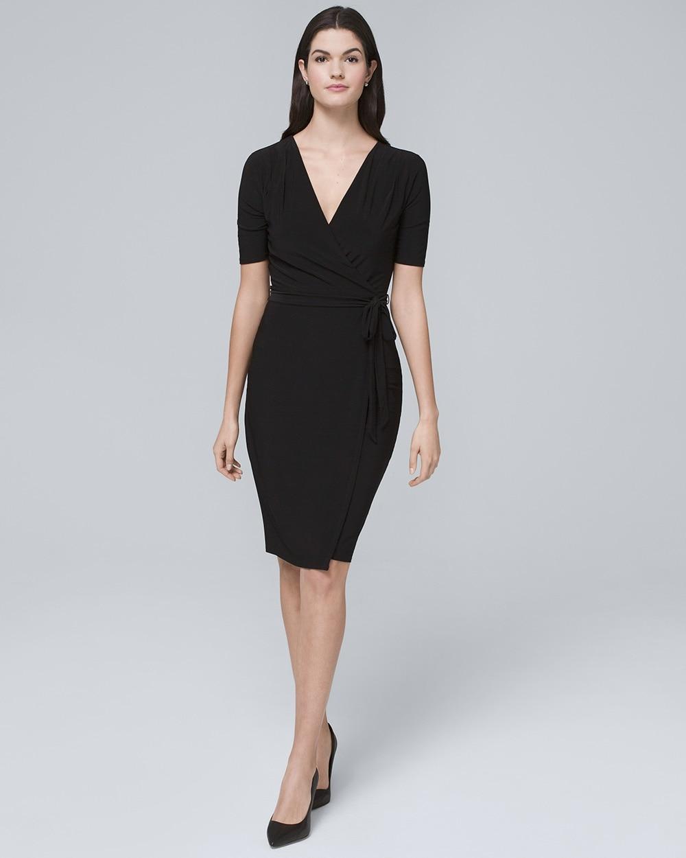 c40eecd29c7 Black Knit Wrap Dress - White House Black Market