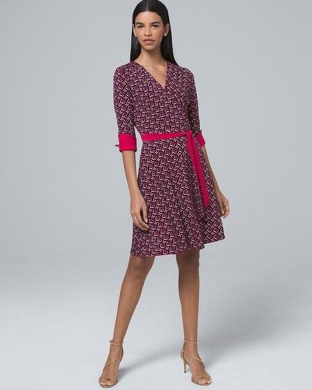 Reversible Geo-Print Solid Faux-Wrap Dress 45df67752f88