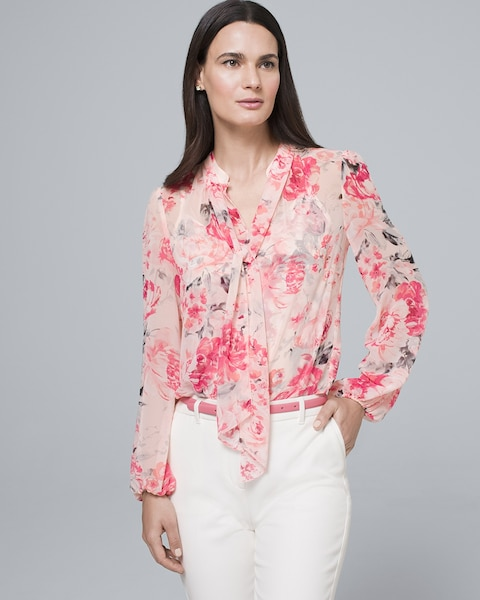 Floral Convertible Blouse With Tie Neck by Whbm