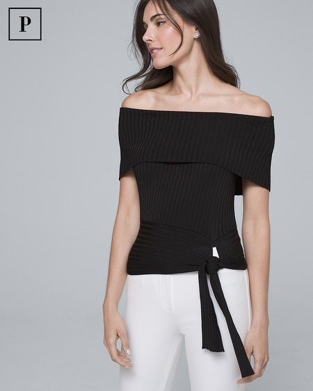 Petite Off-the-Shoulder Ribbed Sweater