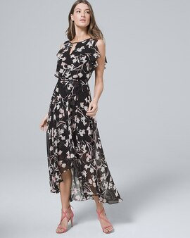 cba4686281c Flutter-Sleeve Chiffon Floral High-Low Maxi Dress