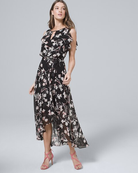 eae6f6e53e7 Flutter-Sleeve Chiffon Floral High-Low Maxi Dress - White House Black Market