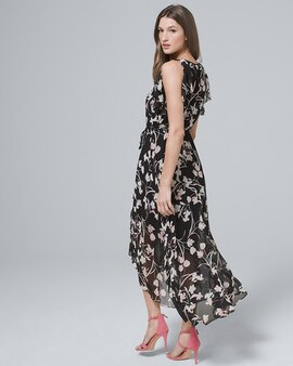 1f1ce258c7 Flutter-Sleeve Chiffon Floral High-Low Maxi Dress