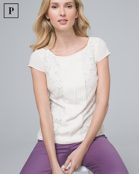 Petite Lace-Front Tee