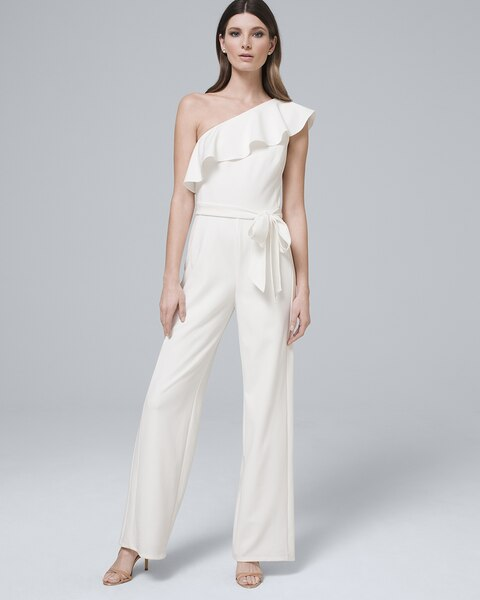 694e5f2de37 Return to thumbnail image selection One Shoulder Flounce White Jumpsuit  video preview image