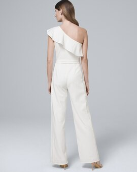 15a849deaa6d Adrianna Papell One Shoulder Flounce White Jumpsuit