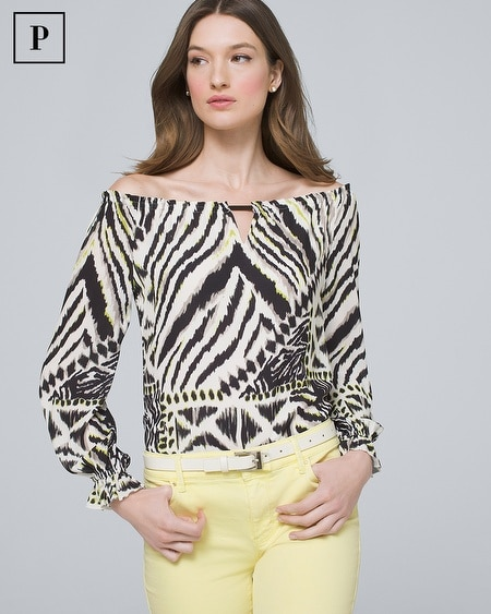Petite Mixed Animal-Print Off-the-Shoulder Blouse