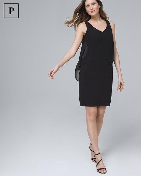 Petite Cape-Back Black Knit Sheath Dress