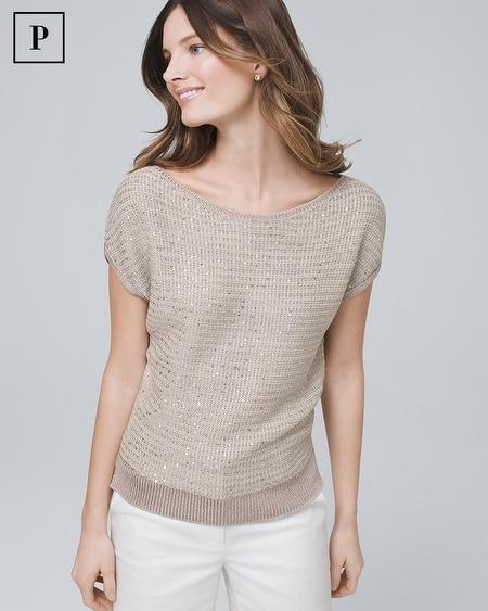 Petite Sequin Dolman Sweater
