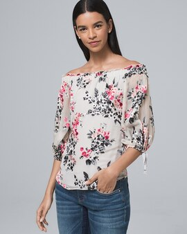 b4d35f6cd8 Silk-Blend Floral Burnout Off-the-Shoulder Blouse