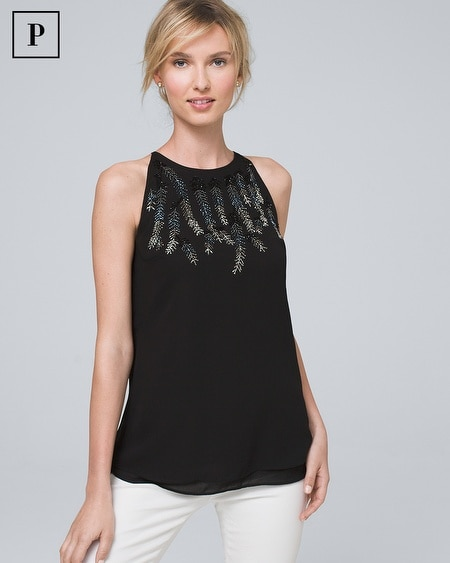 Petite Embellished-Feather Shell