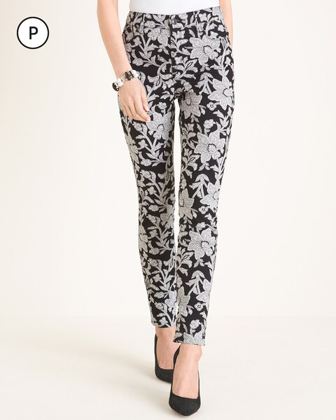 Petite Black and White Floral Jeggings