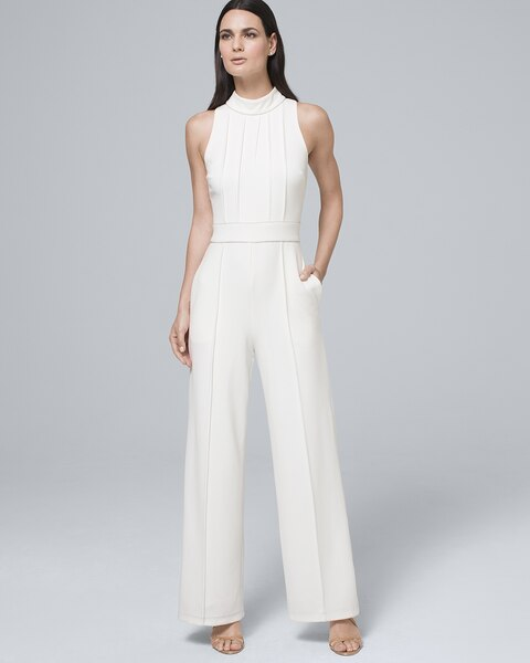 Pintucked White Halter Jumpsuit by Whbm