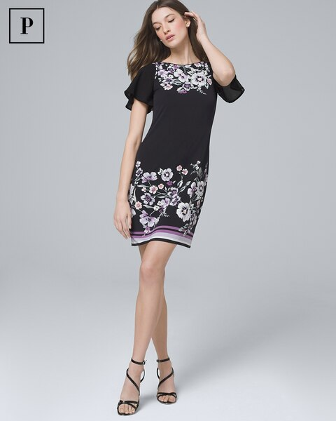 9ce1a08e2a20 Petite Ultimate Reversible Chiffon-Sleeve Knit Shift Dress - White House  Black Market