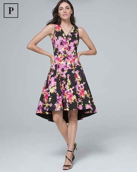 Petite Cotton Sateen Floral Fit-and Flare Dress