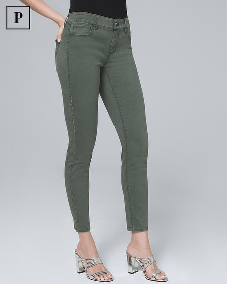 Petite Mid-Rise Embellished-Stripe Cropped Jeans