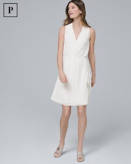 Petite Tassel-Belt White Shift Dress
