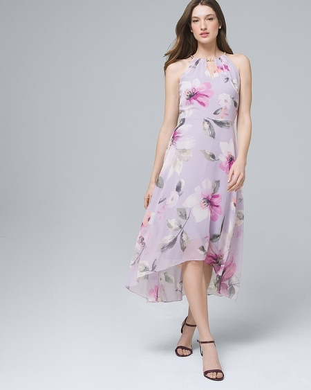 561f483dd561e Flutter-Sleeve Chiffon Floral High-Low Maxi Dress - White House ...