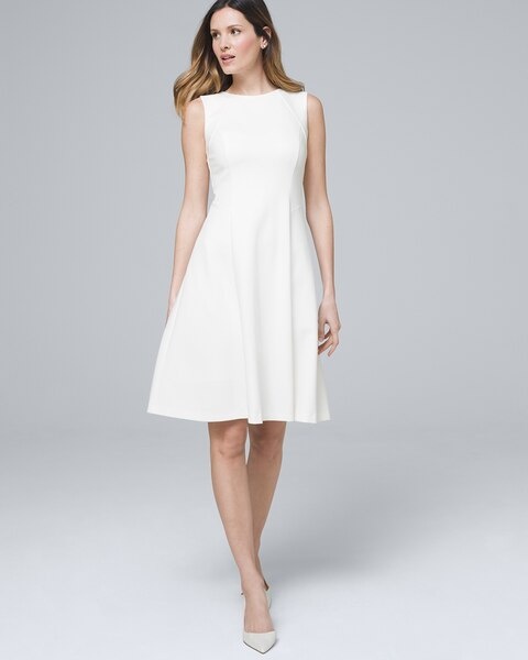 3a51003005ee Polished Knit Seamed Fit-and-Flare Dress - White House Black Market