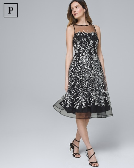 Petite Embroidered Fit-and-Flare Dress