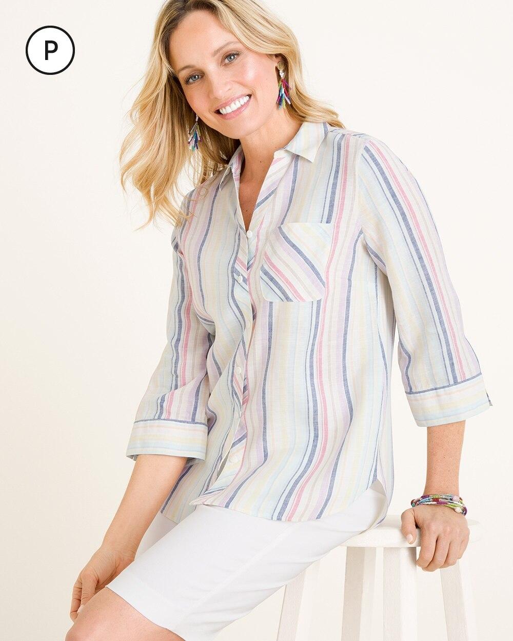 Petite No-Iron Linen Striped Shirt