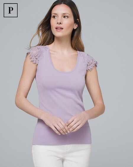 Petite Lace-Sleeve Sweater Tee