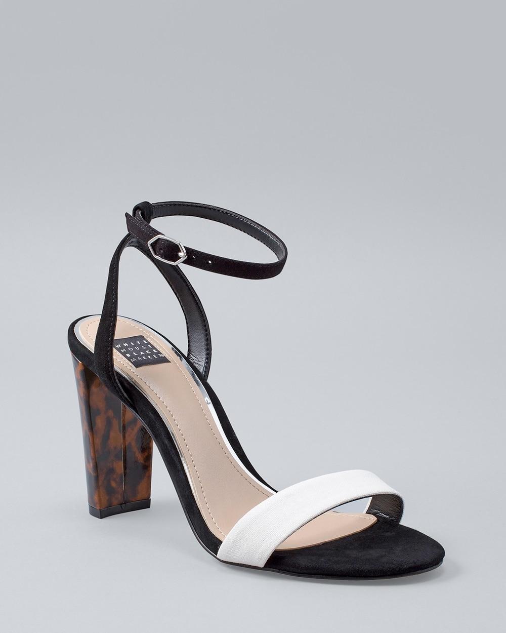 Colorblock High-Heel Sandals - White