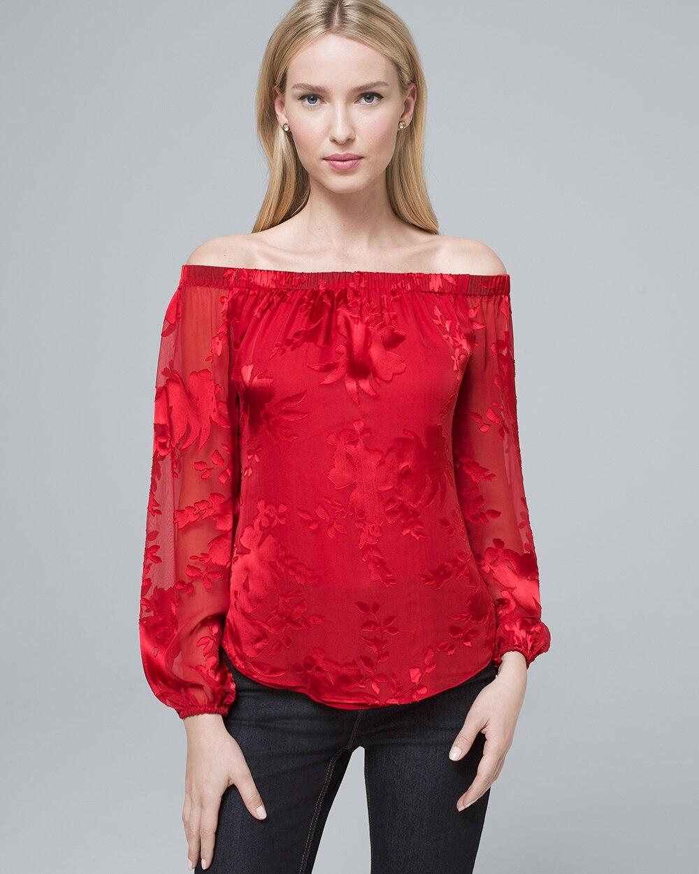 9bac301f0e535 Silk-Blend Floral Burnout Off-the-Shoulder Blouse - White House Black Market