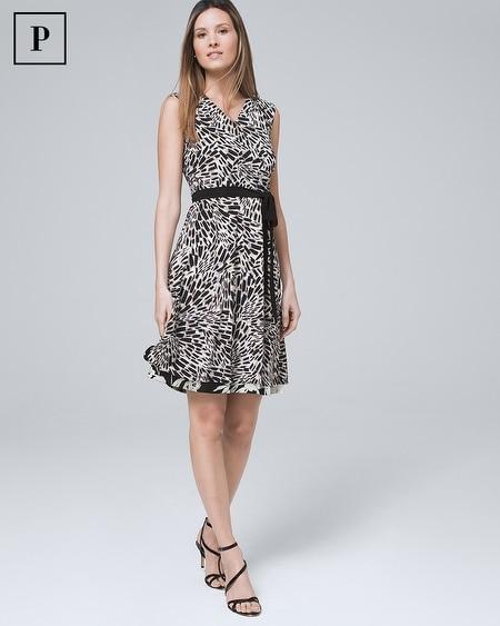 Petite Reversible Floral/Geo Faux-Wrap Dress