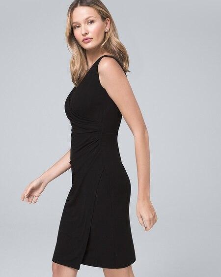 dca2733475d Draped Surplice Black Sheath Dress. Quick Shop
