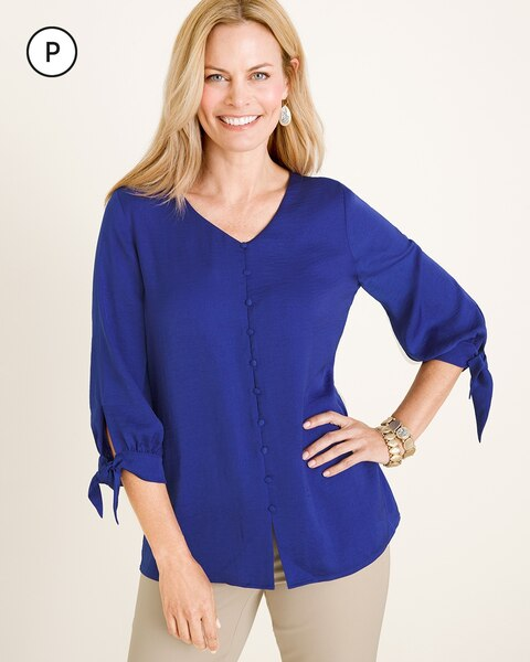 Petite Tie-Sleeve Button Top