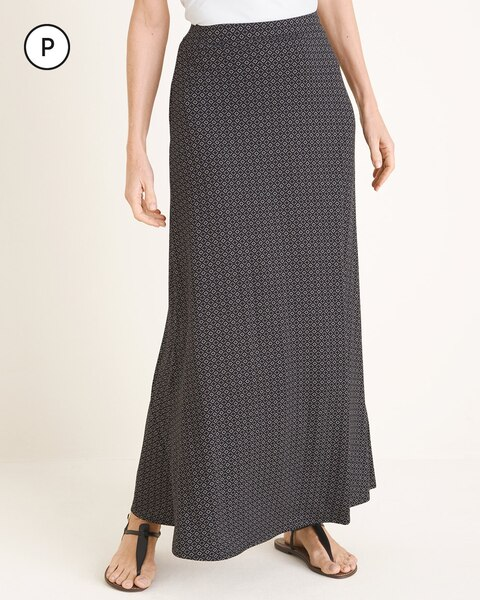 Petite Dotted Diamond-Print Maxi Skirt