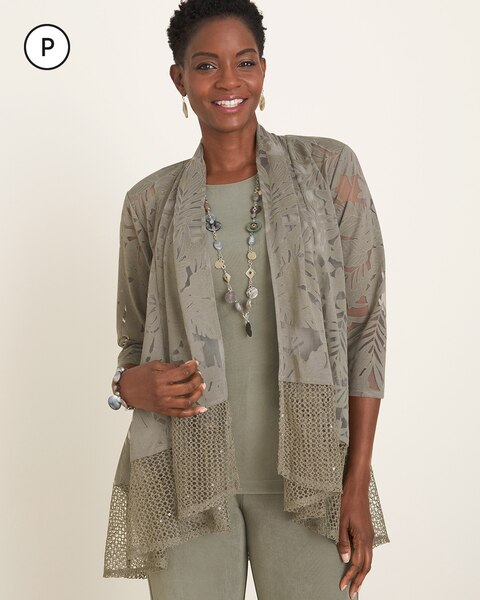 Travelers Collection Petite Kimono Burnout Jacket