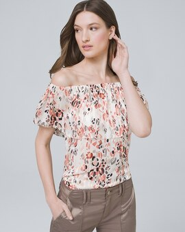 37f6c42217 Floral-Shadow Stripe Off-the-Shoulder Blouse