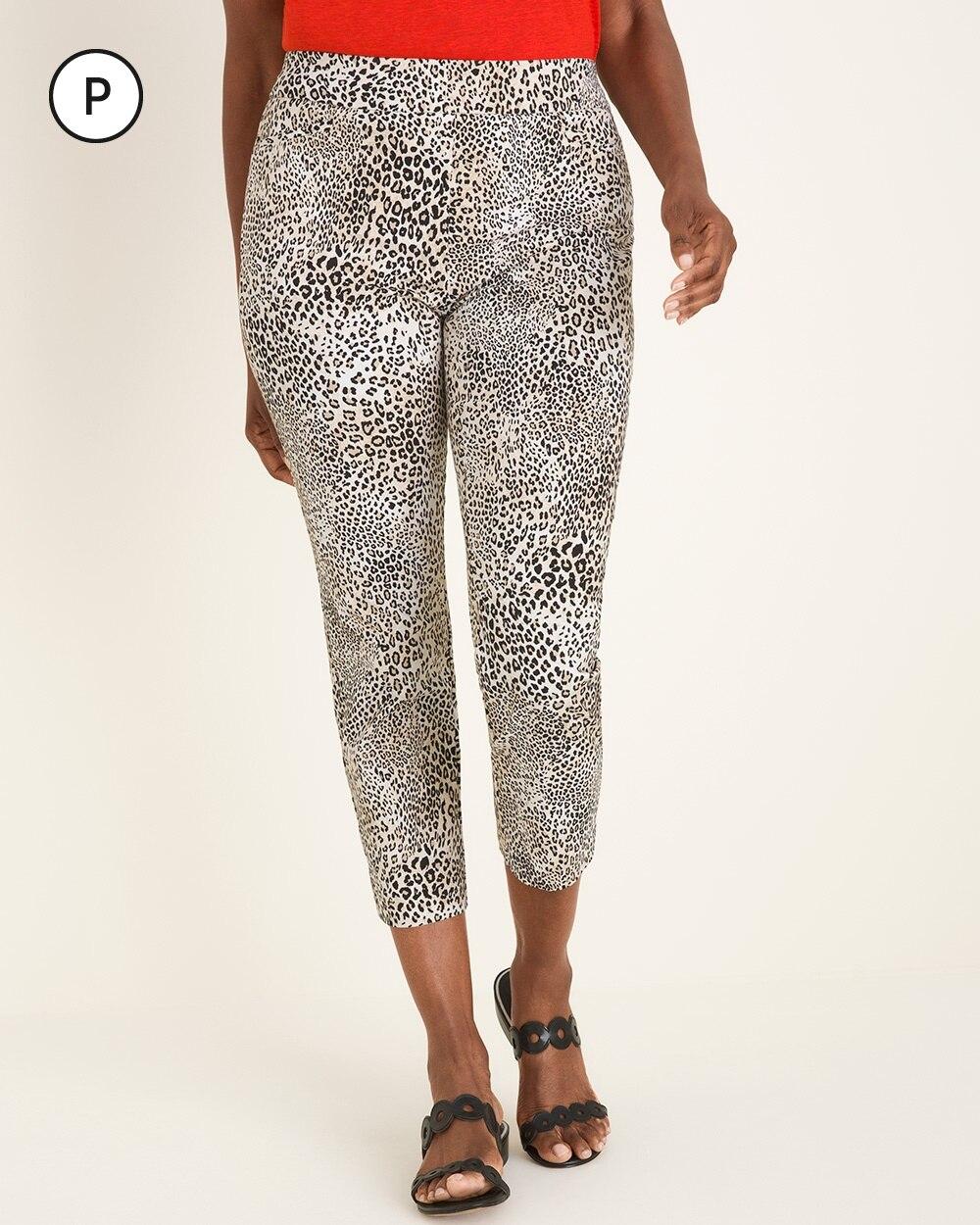 So Slimming Petite Brigitte Leopard-Print Slim Crop Pants