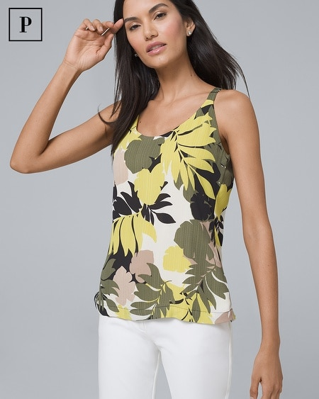 Petite Ultimate Reversible Tropical Floral/Solid Camisole