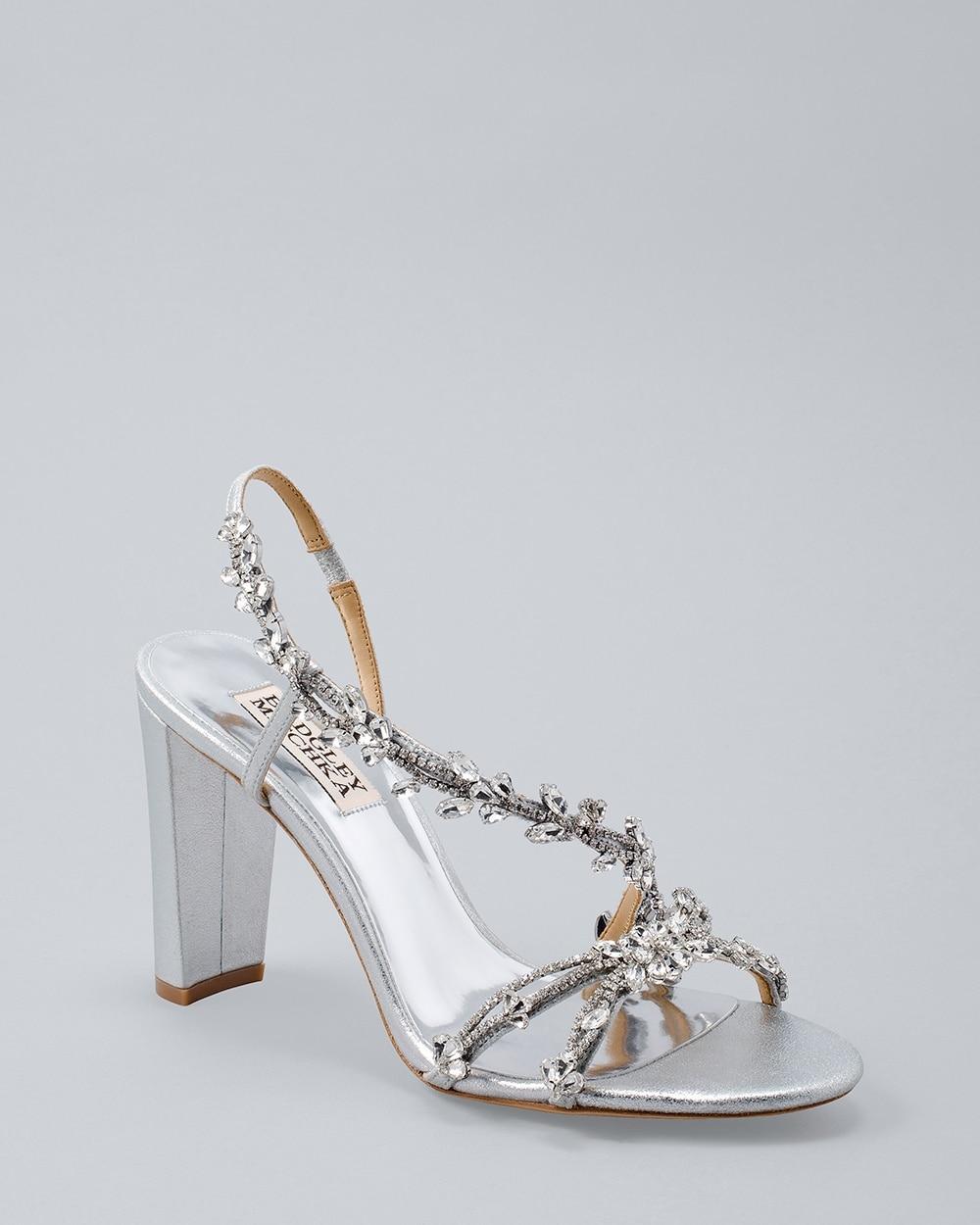 a788a29b7 Badgley Mischka Felda Embellished Foil-Suede Strappy Heels - White House  Black Market