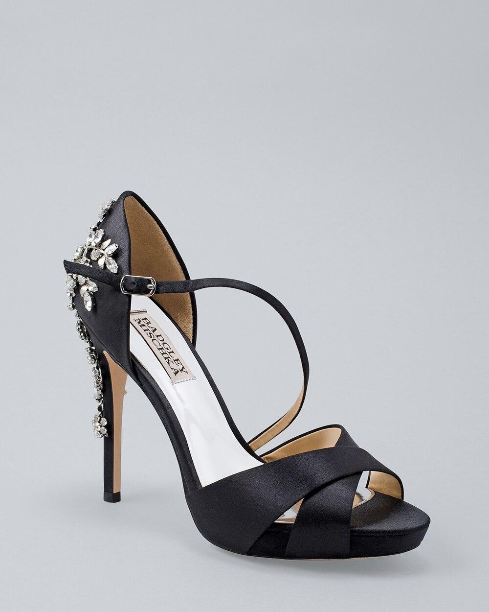 6988a4501d Badgley Mischka Fame Embellished Satin Peep-Toe Platform Heels - White  House Black Market