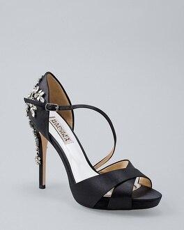 63ef0c6d4ef Badgley Mischka Fame Embellished Satin Peep-Toe Platform Heels ...
