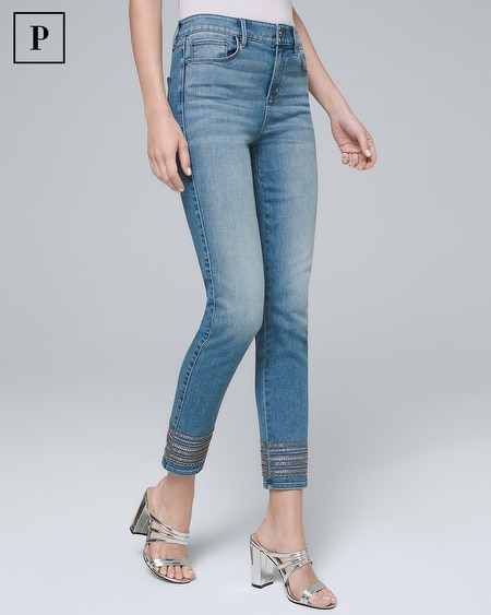 Petite Mid-Rise Embroidered-Hem Slim Cropped Jeans