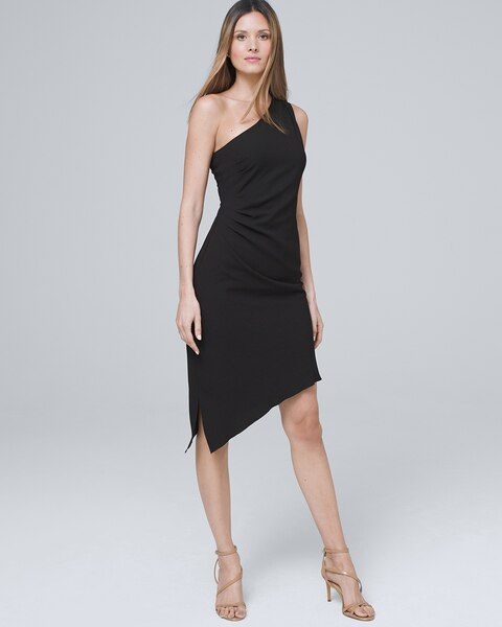 One Shoulder Black Asymmetrical Dress by Whbm