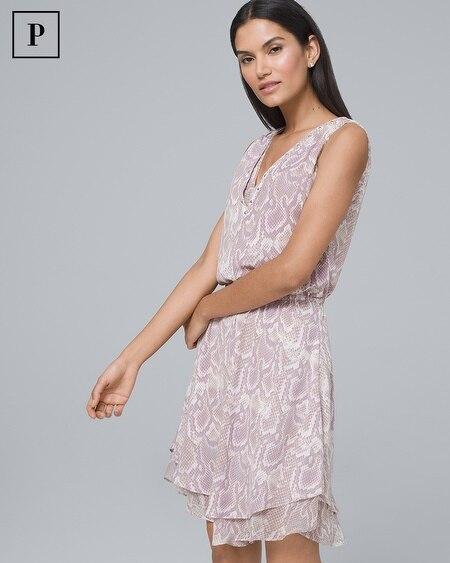 Petite Embellished Neck Soft Blouson Dress