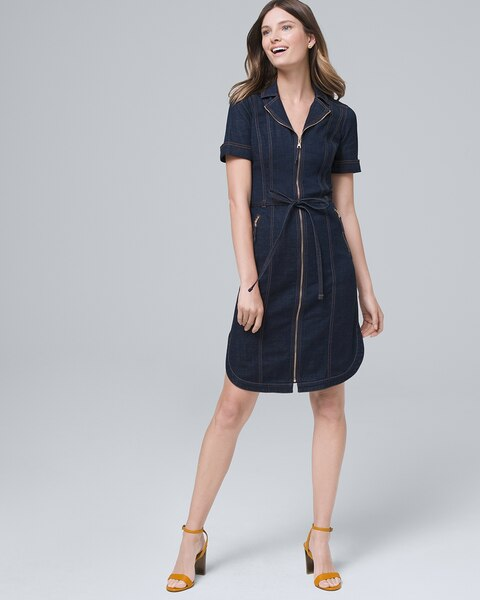 Zip Front Denim Shirt Dress by Whbm
