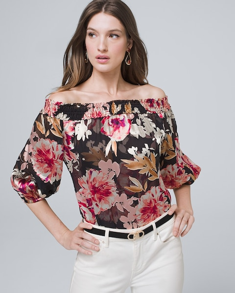 Floral Burnout Off The Shoulder Blouse by Whbm