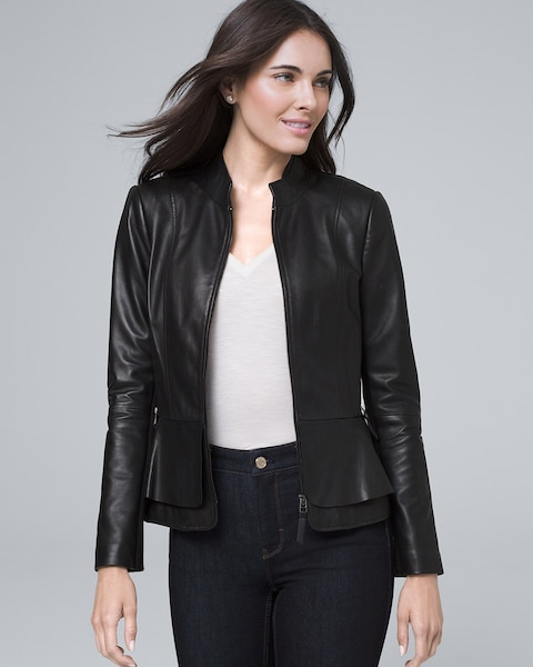 Leather Peplum Jacket by Whbm